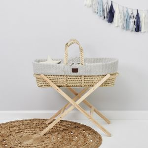 The Little Green Sheep Moses Basket and Stand Bundle - Knitted Dove