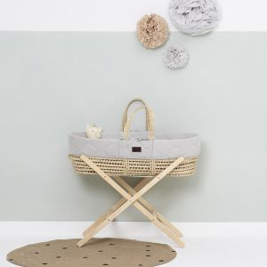 The Little Green Sheep Moses Basket and Stand Bundle - Quilted Dove