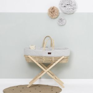 The Little Green Sheep Moses Basket and Stand Bundle - Printed Dove
