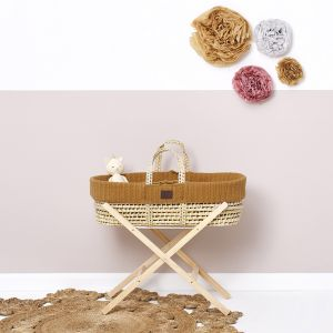 The Little Green Sheep Moses Basket and Stand Bundle - Knitted Honey