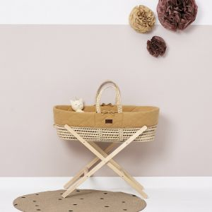 The Little Green Sheep Moses Basket and Stand Bundle - Quilted Honey