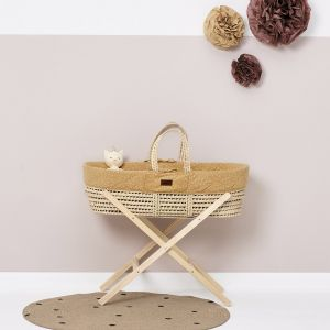 The Little Green Sheep Moses Basket and Stand Bundle - Printed Honey