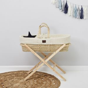 The Little Green Sheep Moses Basket and Stand Bundle - Knitted Linen