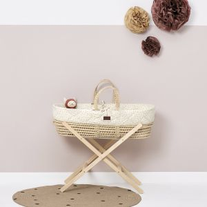 The Little Green Sheep Moses Basket and Stand Bundle - Printed Linen
