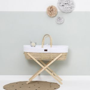 The Little Green Sheep Moses Basket and Stand Bundle - Knitted White